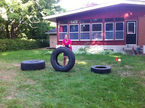 <b>Working on overall strength and stamina with tire flips! </b>