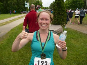 <b>Rachel right after completing the 5K Krista Johnston Memorial Run - great work! </b>