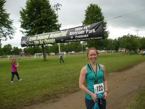 <b>Rachel at the home stretch of the 2014 Krista Johnston Memorial Run For Change  </b>
